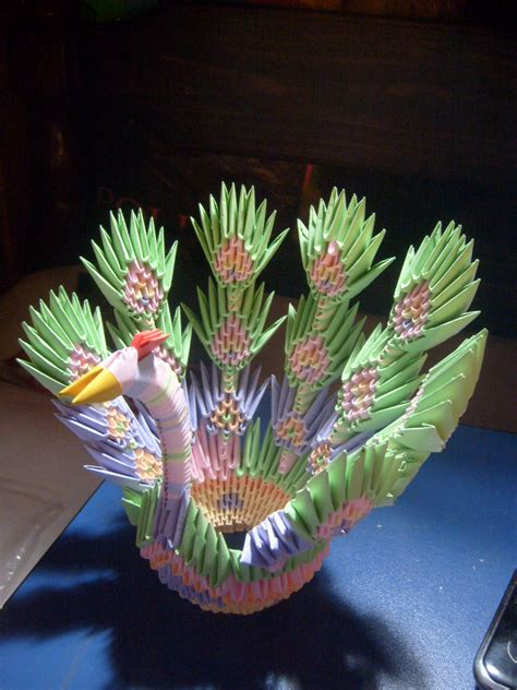 3d Origami Peacock - 3d origami peacock cake ideas and designs