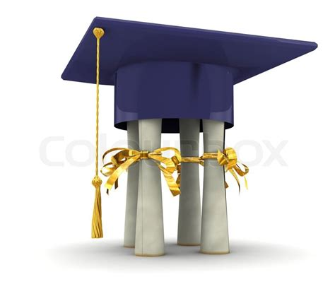 bachelor cap stand on diplomas on white background stock photo colourbox