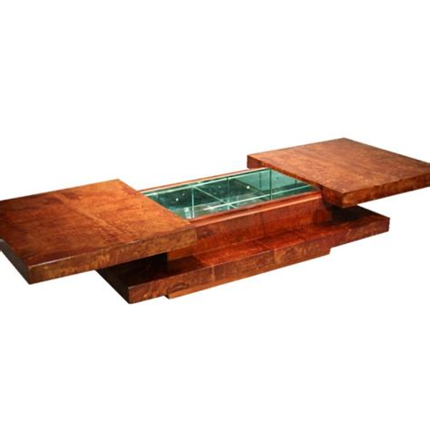 bar coffee table anni 70 in pergamena due top scorrevoli