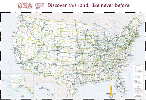 map of united states with cities and highways usa map