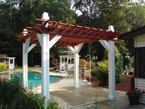 custom built pergola painted and stained custom builds