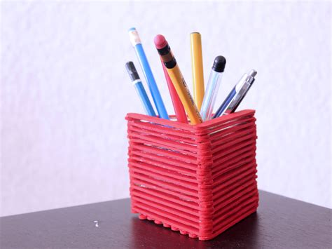 How To Make Pen Stand Using Paper - how to make a pencil holder with popsicle sticks with
