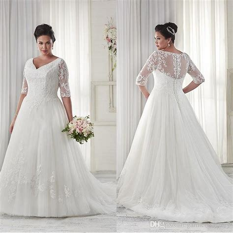 Plus Size Modest Wedding Dresses by Discount Modest Plus Size Wedding Dresses Sleeves V