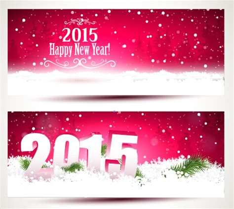 new year 2015 banner vector 2015 happy new year winter banners vector 01 vector