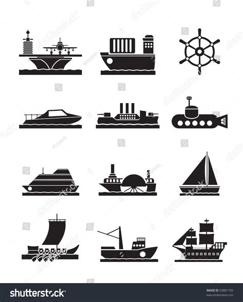 types of boats a z different types of boat and ship icons vector icon set
