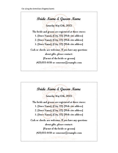 bridal shower registry card template 8 best images of free printable wedding registry inserts