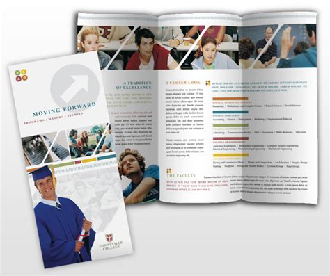 college university education tri fold brochure templates
