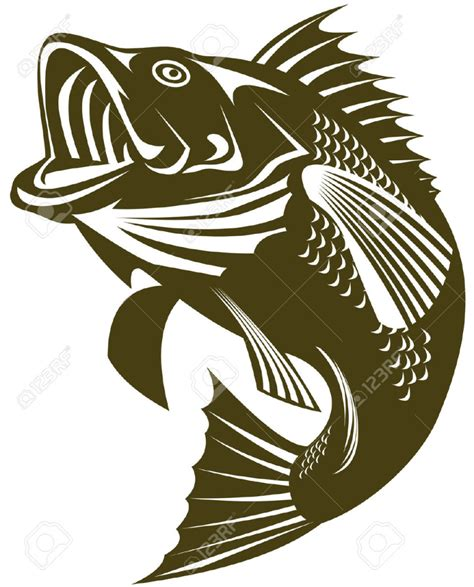 bass clip bass fish outline clipartion