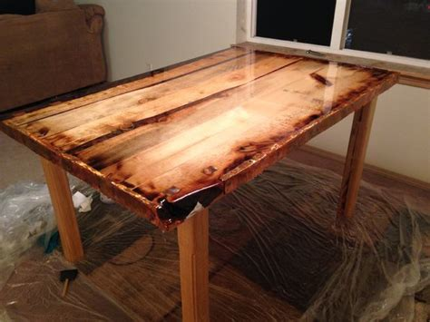 epoxy finished rustic dining table alle