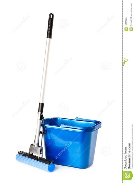 drop in mop bucket and mop on white background cartoon vector