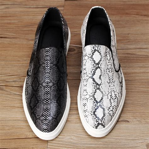 Genuine Leather Slip On Sneakers top quality loafers snakeskin texture genuine leather
