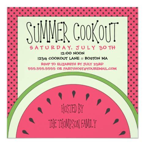 cookout invitation template watermelon summer cookout invitation 5 25 quot square