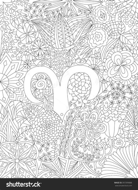 2e hands zodiac zodiac sign aries floral geometric doodle pattern coloring
