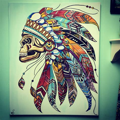 paint tattoo indian skull headdress aztec feathers canvas