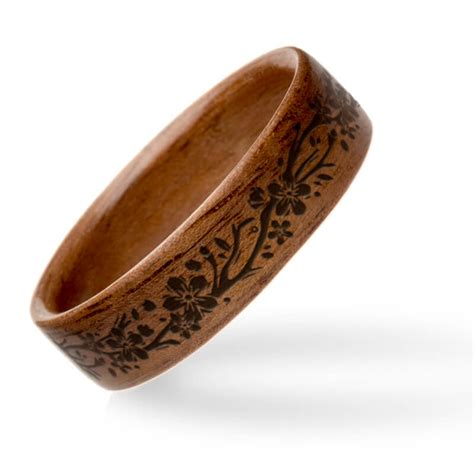 american walnut with wood burned floral vine inlay