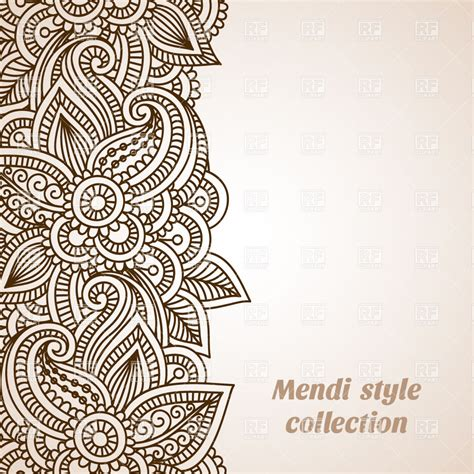 henna design vector free download mehndi style ornamental border 29058 borders and frames