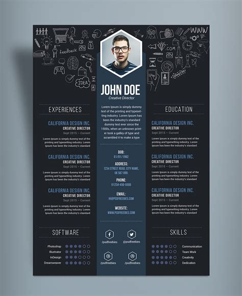 Free Creative Resume by Free Creative Resume Cv Design Template Psd File