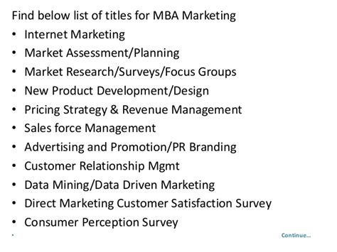 Market Research Mba Projects by Project Report Titles For Mba In Marketing