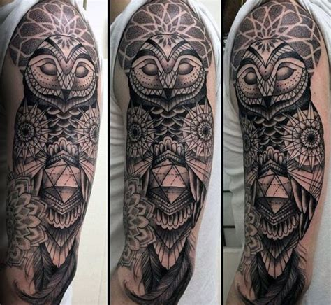 owl half sleeve tattoo 80 geometric owl designs for shape ink ideas