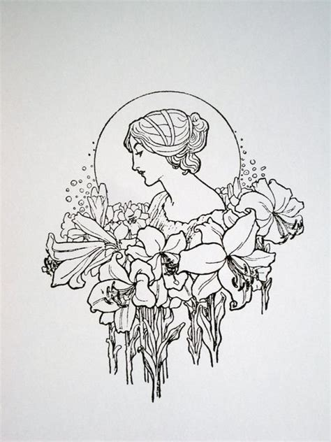art deco tattoo designs nouveau with flower garland limited edition