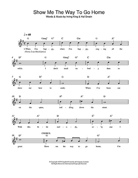 show me the way to go home chords by irving king melody
