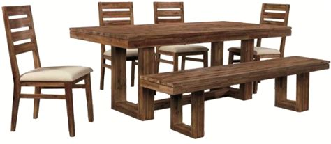Modern Dining Table Bench Six Modern Rustic Rectangular Trestle Table With Ladderback Side Chairs Dining Bench Set