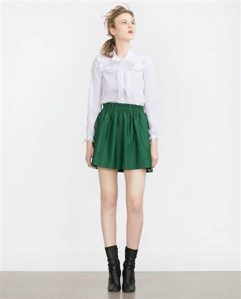 Zara Skirt zara elastic waist mini skirt in green lyst