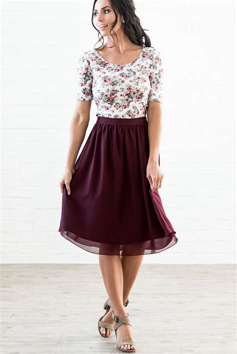 Ayamor Maroon Navy 50 modest skirts chiffon a line skirt in burgundy