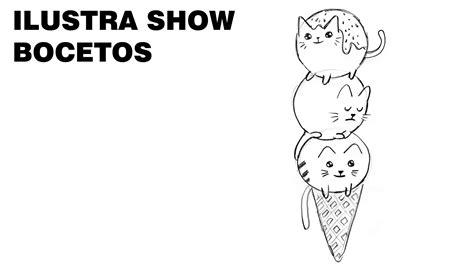 imagenes de helados kawaii para dibujar bocetos como dibujar gatos helados kawaii tutorial ilustra