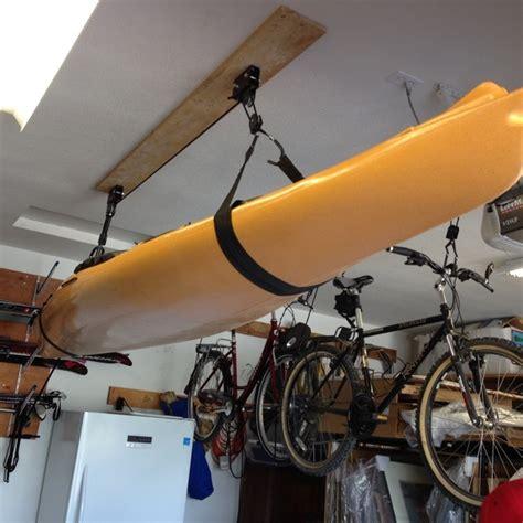 Kayak Racks For Garage Ceiling by Kayak Ceiling Hoist Boat Storage Rack Hi Lift