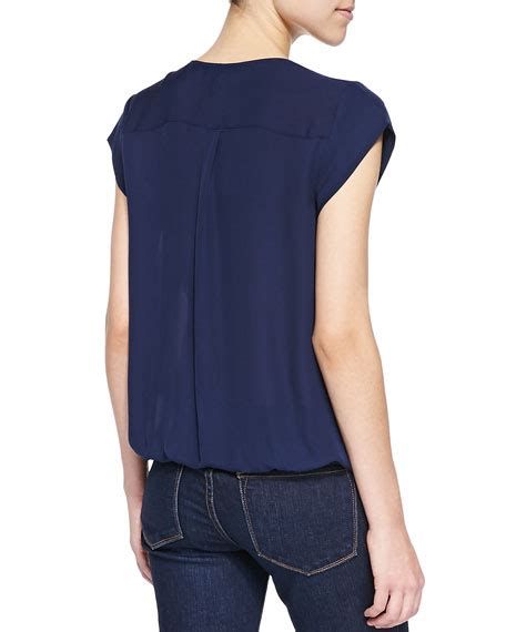 joie marcher v neck top with pleated front navy