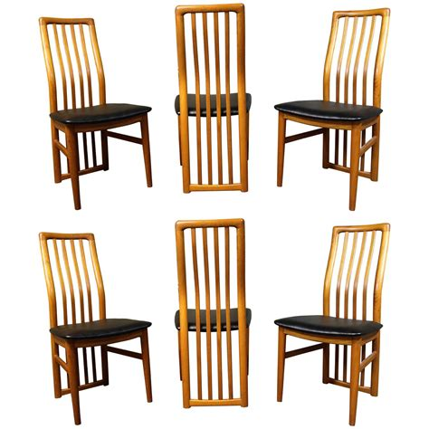 six kristiansen teak dining room chairs for schou