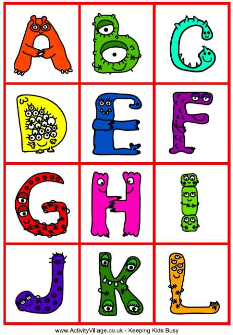 free printable monster alphabet letters monster alphabet cards monster printables for kids