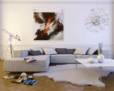 Living Room With L Shaped Sofa Contemporary Light Gray L Shaped Sofa Interior Design Ideas