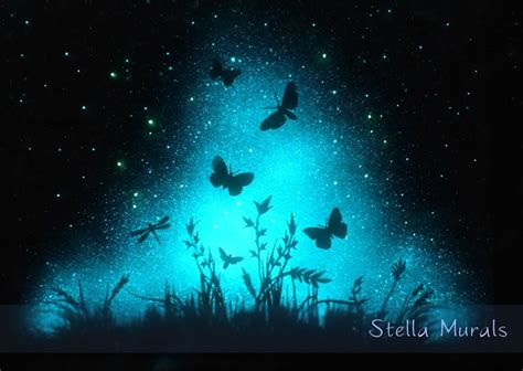 glow in the dark murals glow in the dark star murals turn your room into cosmic