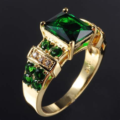deluxe mens jewelry popular emerald ring sz6 7 8 9 10kt