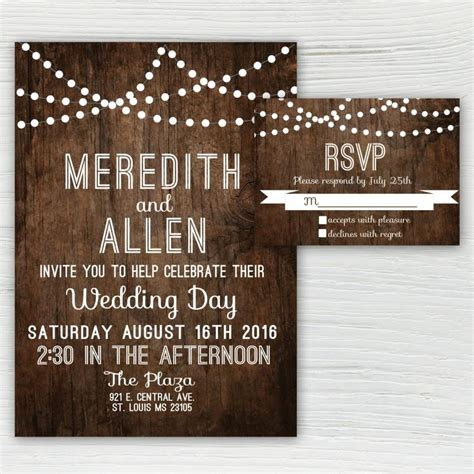 Wedding Invitations With Woods Themes by Rustic Wood Wedding Invitation Country Wedding Invitation