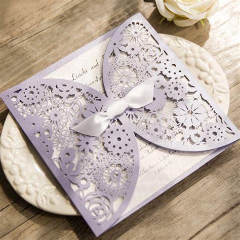 wedding invitations with bows light purple floral laser cut wedding invitation with