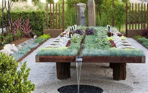 The Garden Table by Wide Planting Table With Green Grass And Purple Plants