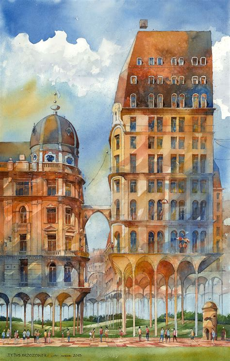 building painting architectural watercolors of a dreamlike warsaw by tytus