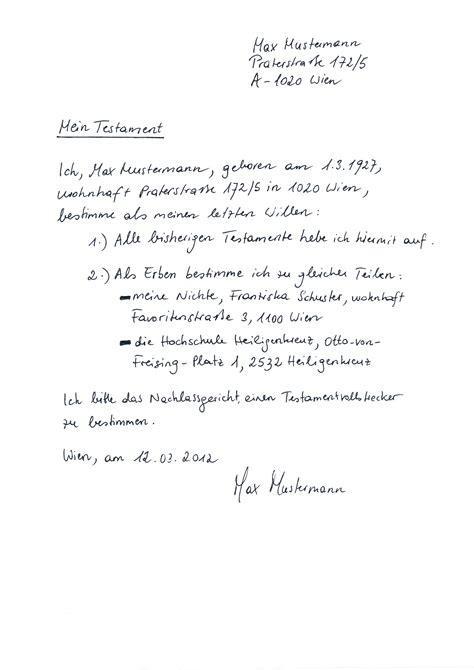 Testament Schreiben Muster Dr Beier Partner Partnerschaftsgesellschaft Testament