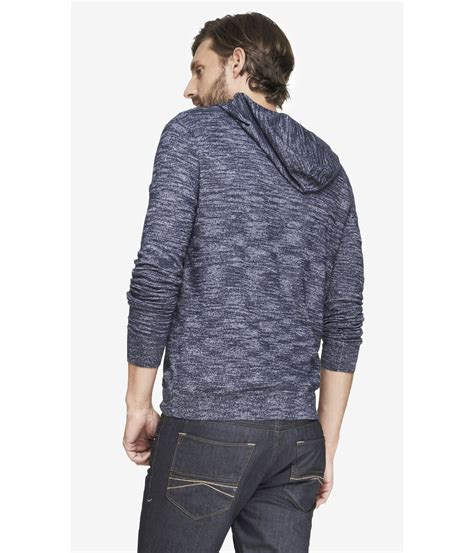 knit hoodie express hooded v neck slub knit sweater in blue for