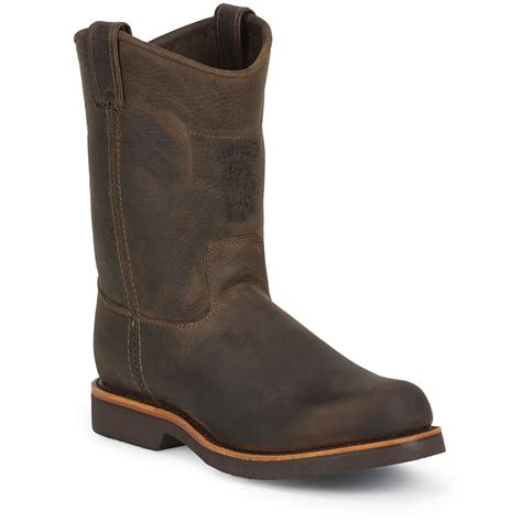 mens pullon boots s chippewa 174 boots 10 quot steel toe eh pull on chocolate