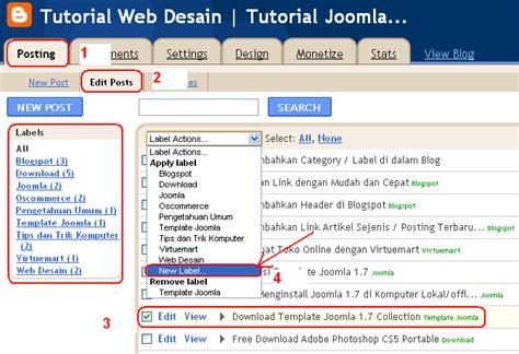 tutorial membuat desain web dengan joomla menambahkan category label di dalam blog tutorial web