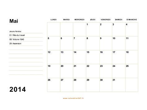 Calendrier 5 Mai Calendrier Mai 2014 224 Imprimer Gratuit En Pdf Et Excel