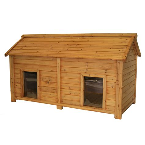 insulated dog houses shop simply cedar medium insulated cedar duplex dog house at lowes com