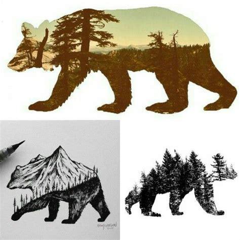bear tree tattoo idea design silhouette treeline pinteres