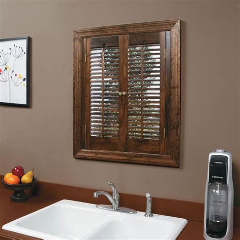 homebasics traditional real wood walnut interior shutter