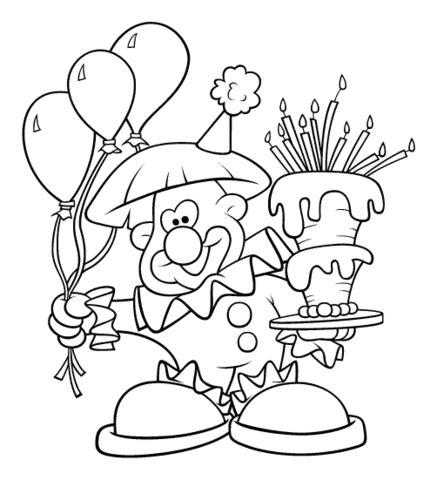 dibujo payaso sujeta globo pastel colorear dibujos colorear imprimir