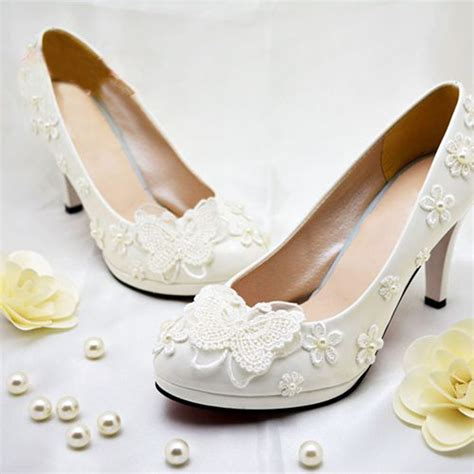 flower dress shoes aliexpress buy free shipping ivory pearl bowtie